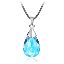 Hot Anime Sword Art Online Metal Necklace Yui's Heart Blue Crystal Pendant Cosplay Accessories Jewelry can Drop-shipping(China)