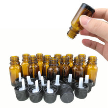 12pcs 1/3 Oz Amber 10ml Glass bottle w/ euro dropper black tamper evident cap for essential oil aromatherapy cosmetic containers