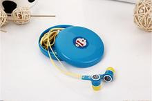 Despicable Me KT Spider Man Cartoon Micphone Earphone With Nice Storage Box Flat Wire For IPhone Samsung Earphone Good Quality