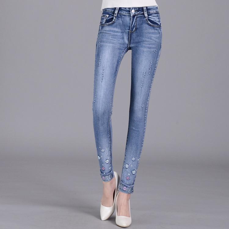 2017 New Women Pants Plus Size Stretch Skinny High Waist Jeans Pants Blue Pencil Casual Slim denim Pants AC466Одежда и ак�е��уары<br><br><br>Aliexpress