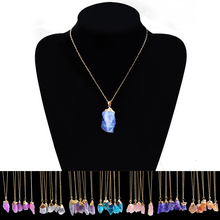 Buy LNRRABC 9 Colors Link Chain Women Necklaces Popular Irregular Shape Natural Crystal Stone Pendant Necklace Fashion Jewelry Gift for $1.78 in AliExpress store