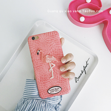 Korean creativity pink embroidery flamingo for iphone6s 7 7plus mobile phone case flash powder 6plus soft shell protective sleev