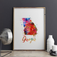 Georgia Map Painting Watercolor Art Paint Georgia Decorative Friend Art Gift Unique for Home US Map Wall Art Picture Z175(China)
