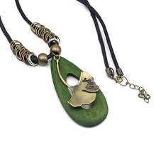 Fashion women rope leather chain necklace cheap wood pendant necklace with leaf long chain jewelry gift N10056 Wholesale(China)