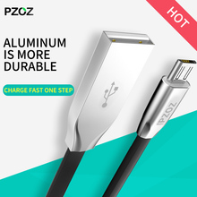 Pzoz zinc Alloy flat Usb Cable Micro Usb 2a Fast Charger original for Samsung s5 s6 s7 Xiaomi Huawei Sony android phone 1m 2m