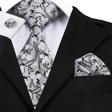 Mens Tie Black White Floral Silk Jacquard Necktie Hanky Cufflink Set Business Wedding Party Ties For Men C-996(China)
