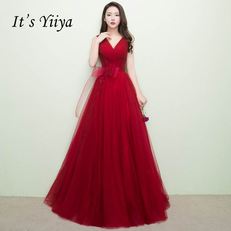 It's YiiYa Red V-Neck Bow Pleat Backless Lace Up Tulle Beading Floor Length Party Evening Dresses Pattern Evening Frock LX141
