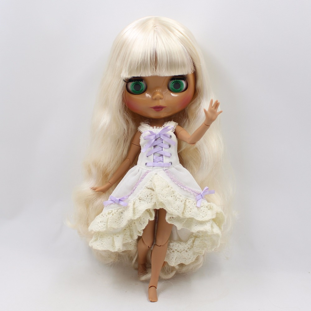 Neo Blythe Doll with Blonde Hair, Dark Skin, Shiny Face & Jointed Body 3