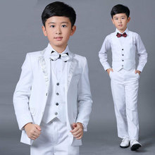NEW 5PCS/Set Slim Fit Prom Boy Costume Wedding Suits Classic suits Collar Printing Dress Suits Boys Jacket with Pants bow tie(China)