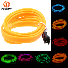 POSSBAY 3M Neon Light Dance Party Decoration Lights Flexible EL Wire Rope Tube LED Strip White/Red/Blue/Orange/Yellow/Green(China)