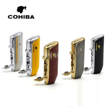 COHIBA Red Cloud Snake Mouth Shape Metal Windproof 3 Torch Jet Flame Cigarette Cigar Lighter with Cigar Punch Pocket Lighter(China)