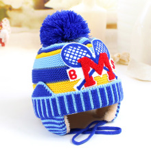 Baby boy girl hats Towel embroidery tennis racket baby wool hat 46-50 cm baby M letter plus cashmere warm knit winter child hat