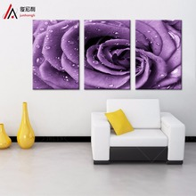 3 Pieces Definition Bright Dripping Purple Roses Canvas Prints Wall Art Home Decoration Modular Picture Modern Fashion Paintings