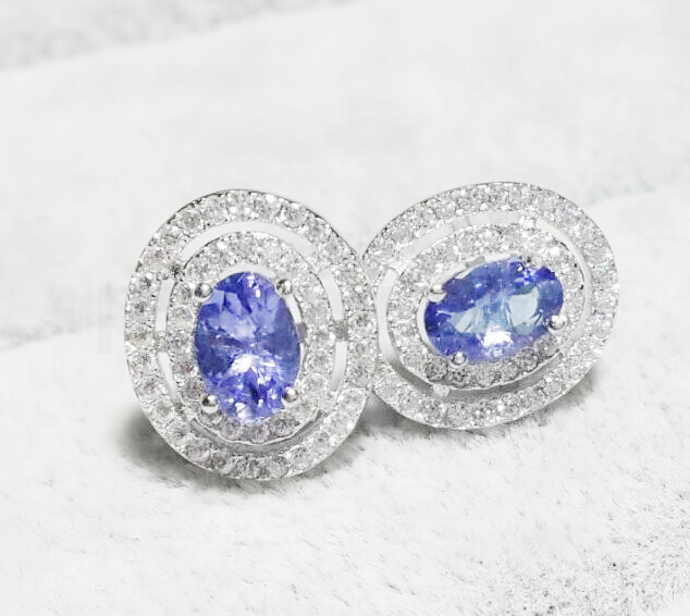 Natural tanzanite stud earring Free shipping Natural real tanzanite 925 sterling silver Fine jewelry 0.5ct*2pcs gems #X190110003