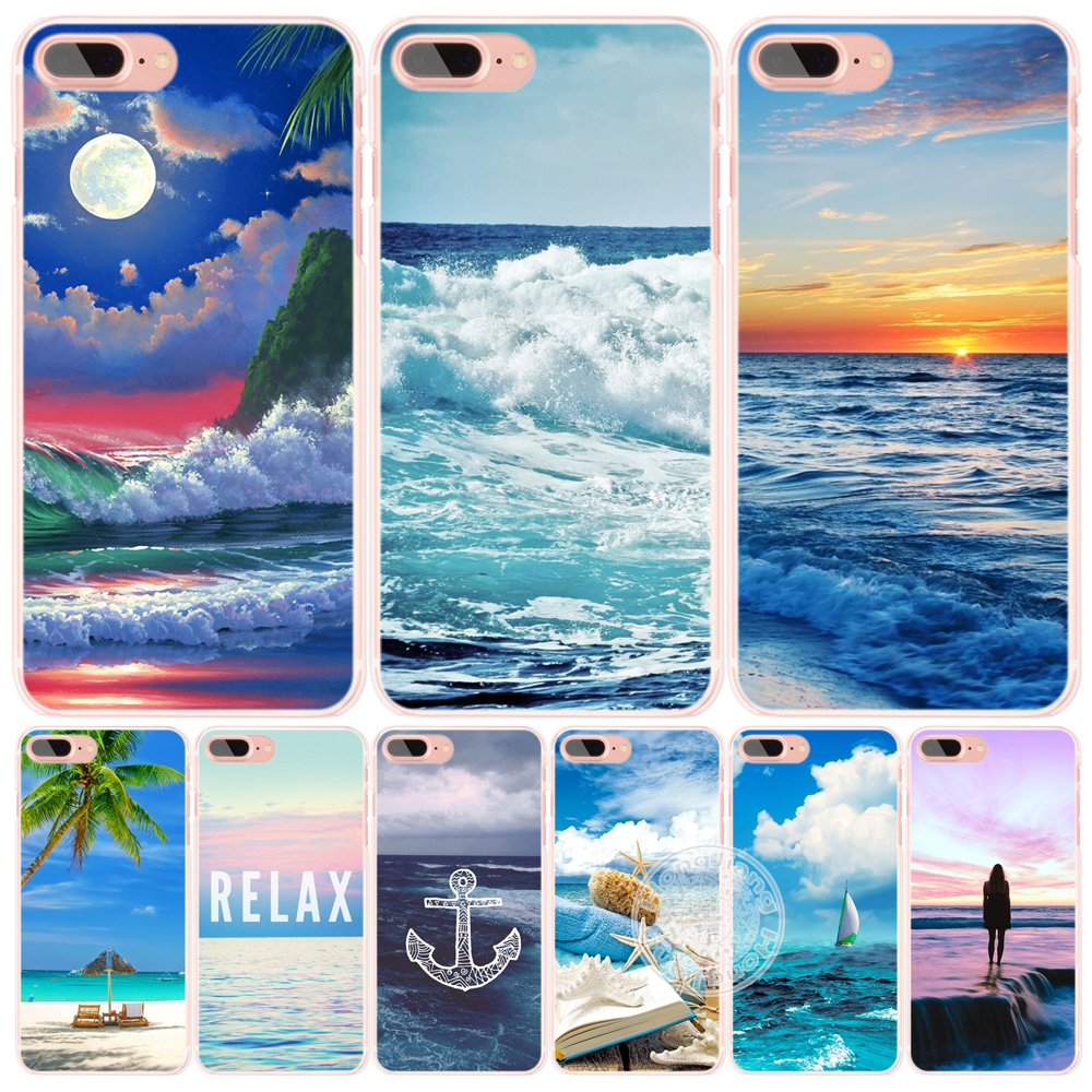blue sea wave beach summer cell phone Cover case for iphone 6 4 4s 5 5s SE 5c 6 6s 7 plus case for iphone 7(China (Mainland))