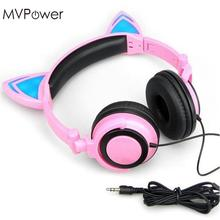 MVpower Wire Cat Ears Headset Folding led Glowing flash light gaming Headphones For Macaroons PC Laptop phone earphone(China)