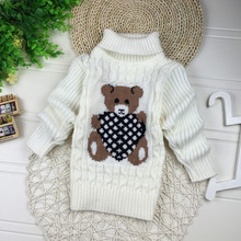 2016 New Cartoon Autumn Winter Baby Boys Girls Kids Children's Babi Warm Turtleneck Sweaters Pullover Cardigans Top clothes Out(China)