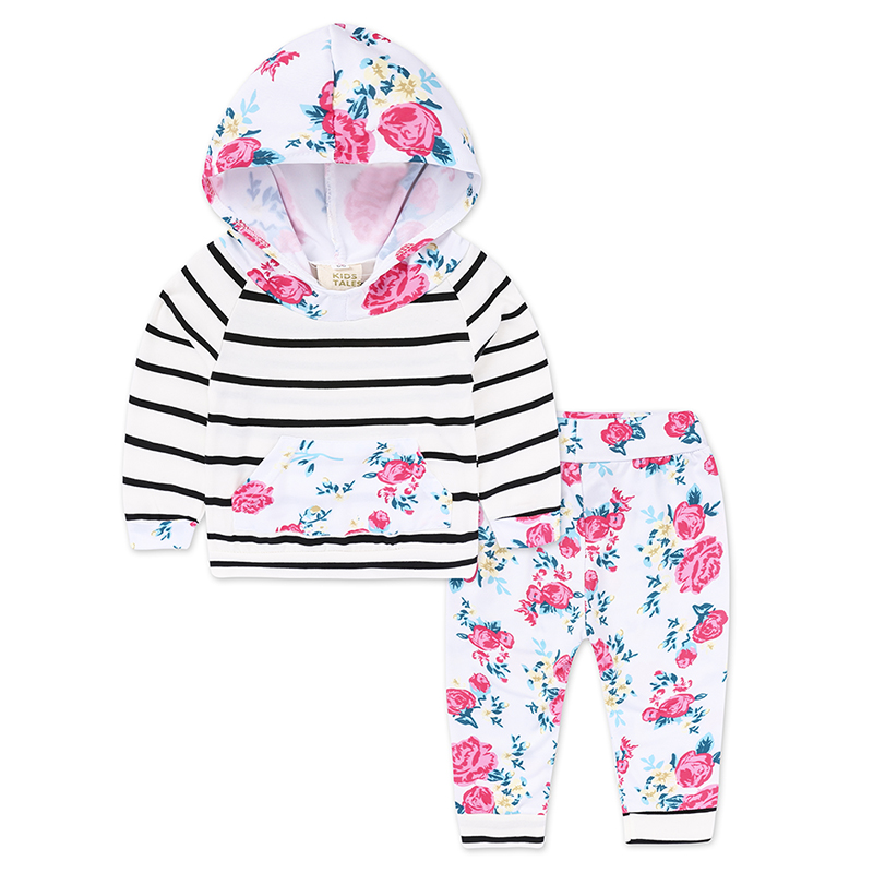 0-2 years baby girl outfits cotton long sleeve hooded coat floral pants todler baby boy tracksuit autumn 2PCS clothing set