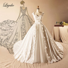 Buy Elegant Satin Sweetheart Neckline A-Line Wedding Dress Chapel Train 3D Appliques Embroidery Bridal Dress Liyuke for $232.16 in AliExpress store