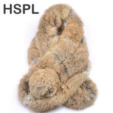 HSPL Fur Scarf 2017 Autumn And Winter Real fur Scarves Natural Rabbit Scarf With Ball Pele scarves cachecol bufandas mujer 2016(China)
