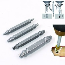 HILDA 4pcs Steel Broken Speed Out Damaged Screw Extractor Drill Bit Guide Set Broken Bolt Remover Easy Out Set