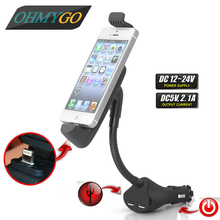 Universal Car Phone Charger Holder Dual USB Charger mount Stand For Iphone 5 6 Mobile Phone Non-slip Scrub Goose Neck