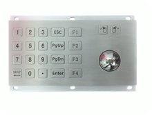USB Rear Panel Mount 20 keys windows OS 10 numeric Keypad with 38mm Metal Trackball Industrial Pointing Mouse Device+bottom box