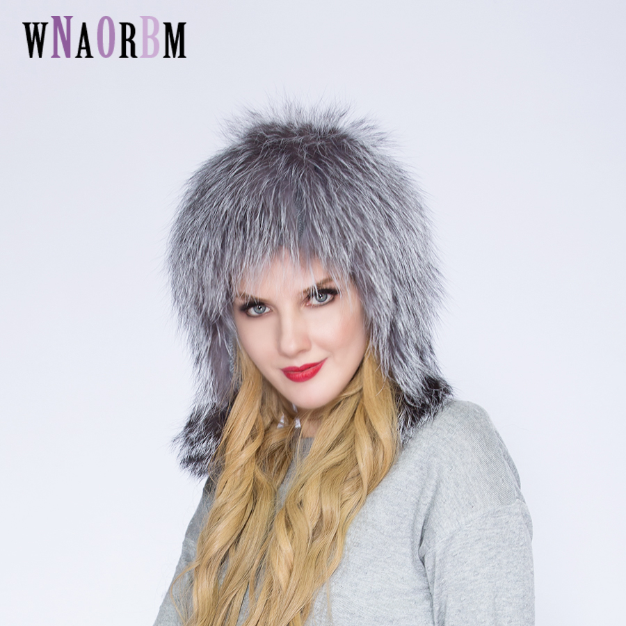 2019 Hot Sale Fashion Winter Warm Women Knitting Caps Mink hats Vertical weaving with FOX Fur On The Top