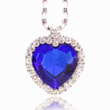 Top Fashion Original Movie Titanic Ocean Heart Blue Stone Pendant Necklaces Clavicle Choker Necklace Chain Accessories Wholesale