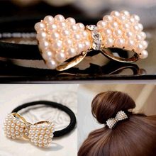 FAMSHIN 2016 New Fasion Lady Girl White Crystal Rhinestone Flower Ponytail Holder Hair Rope Hair Band Hair Decor(China)