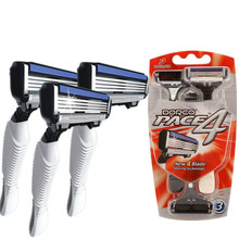 Retail Package 3 Pcs/lot DORCO 4-Blades Shaver Razor Men Razor for Men Shaving Personal Stainless Steel Safety Razor Blades(China)