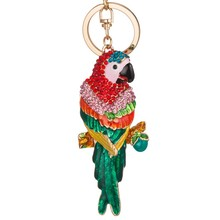 Lovely lifelike parrot car key ring factory direct female fashion bags ornaments wholesale spot