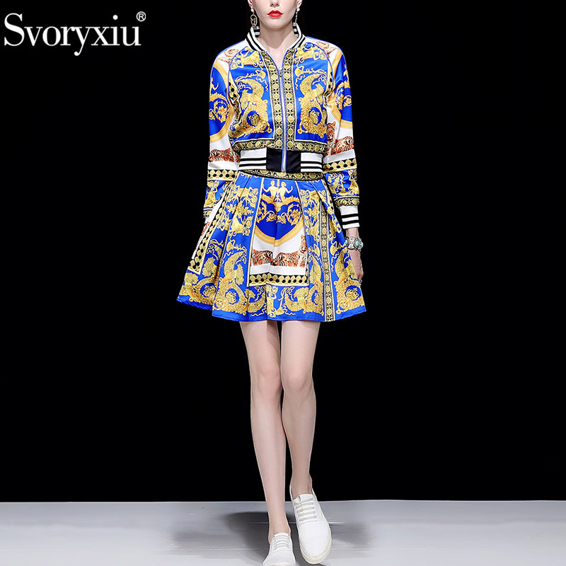 Svoryxiu Brand Autumn Winter Casual Skirt Suit Women's Long Sleeve Short Jackets + Skirts Vintage Baroque Printed Two Piece Set