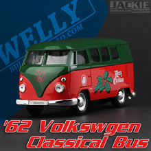 Super 1pc 1:36 11.3cm mini delicate welly Volkswagen T1 Christmas bus simulation model alloy car home decoration gift toy(China)