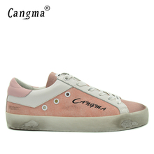 CANGMA Old Skool Canvas Sneakers Shoes Breathable Men Super Star Shoes Genuine Leather Pink Male Shoes Denim Footwear Male(China)