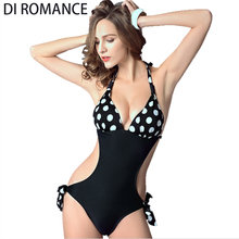 DI ROMANCE One Piece Swimsuit Women Dot Push Up Bodysuit Monokini Female Scrunch Butt Halter Bathing Suit Maillot De Bain DI140