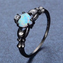 925  jewelry New Crystal from Austrian Angel Girl Simple Ring Round Blue Fire Opal Rings for Women Trendy Engagement