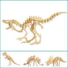1pcs Dinosaur 3D Wooden Puzzle DIY Simulation Model Children Educational Toys 3D Animals Jigsaw Kids Gifts(China)