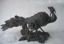 Chinese Absolute Pure Bronze Peacock mouth Diao Lucky flowers Animal Statue