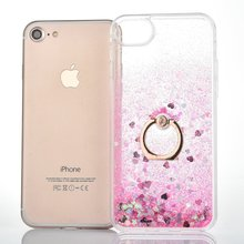 Buy Cute Glitter Star Dynamic Liquid Quicksand Soft frame Hard Back Transparent Clear Case Cover iPhone7/7plus bling ring stent for $3.37 in AliExpress store