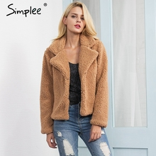 Simplee Faux lambswool turn down jacket coat Women casual jacket hairy overcoat Autumn winter long sleeve female coat outerwear(China)