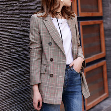 2017 New Plaid Formal Suits for Women Fashion Newest Designer Blazer Women's Long Sleeve Jacket J17CA2005(China)