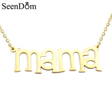 "Mother's Day Gift Gold Color ""MaMa"" Name Necklace Stainless Steel Handwriting Signature Nameplate Choker Necklace For Mom"