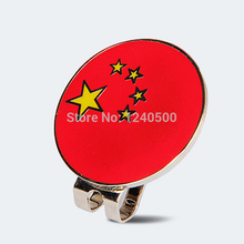 Free Shipping 2017 New Arrival China Flag Golf Cap Clip Golf Ball Marker Alloy Professional 1.18""