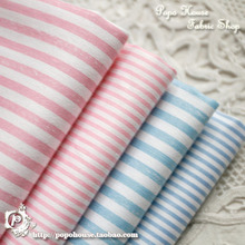 160x50cm slanting 100% stripe cotton cloth fresh baby blue pink stripe 4 shirt Stripe width of 3 mm or 1.5 mm