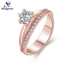 New designer fashion jewelry fine quality Pure rose Gold Color Zirconia wedding rings band women bridal jewellery(China)