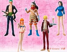 Free shipping July arrival 5pcs 82generation one piece Zoro Snji Usopper Nami pvc firgure toy tall 13cm set.5pcs one piece toy