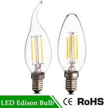 E14 COB Filament Warm White Antique Retro Vintage led Vintage Edison light bulb LED C35 C35L Specialty Decorative For Chandelier(China)