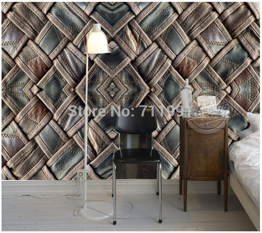 Custom retro wallpaper 3D leather leather for the living room TV background wall vinyl wallpaper Papel store de parede<br>