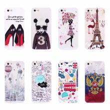 Luxury Phone Cases For Apple iPhone 5 5s se Back Cover Beautiful Girl Shoes Tower Dog Bus Pattern Hard PC Plastic Phone Cases